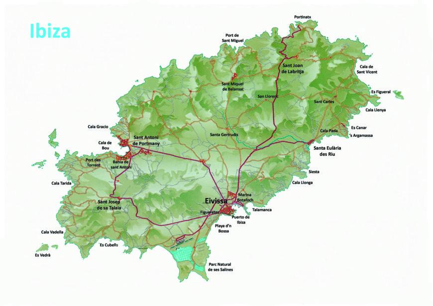 Eilandtransfer-Ibiza map of Ibiza